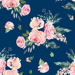 """36"""" Graceful Blooms - Bright Navy"""