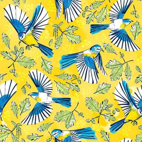 Flying Birds and Oak Leaves on Yellow | Medium