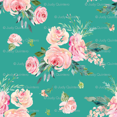 "18"" Graceful Blooms - Teal"