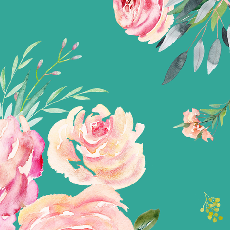 "18"" Graceful Blooms - Teal fabric by shopcabin on Spoonflower - custom fabric"