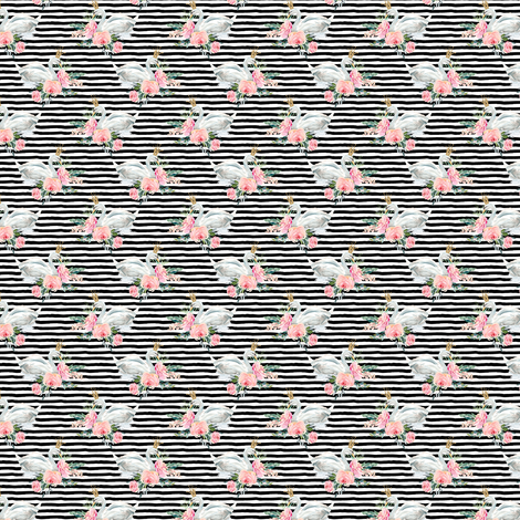 "1.5"" Graceful Swan - Black & White Stripes fabric by shopcabin on Spoonflower - custom fabric"