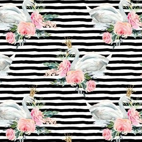 "4"" Graceful Swan - Black & White Stripes"