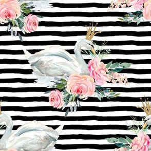 "8"" Graceful Swan - Black & White Stripes"