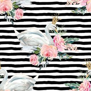 "18"" Graceful Swan - Black & White Stripes"
