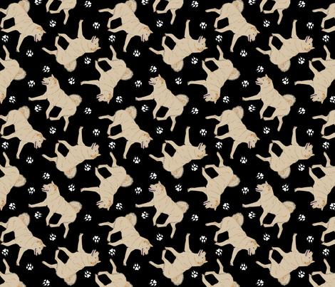 Trotting cream Shiba Inu and paw prints - black fabric by rusticcorgi on Spoonflower - custom fabric