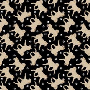 Trotting cream Shiba Inu and paw prints - black