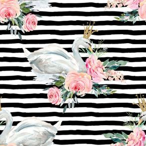 "36"" Graceful Swan - Black & White Stripes"