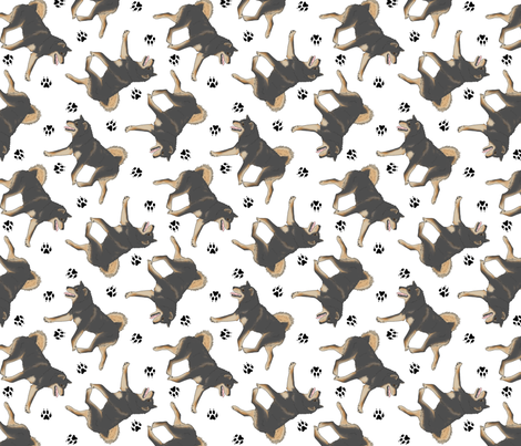 Trotting black and tan Shiba Inu and paw prints - white fabric by rusticcorgi on Spoonflower - custom fabric
