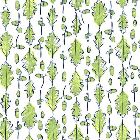 Oak Leaves and Acorns Stripes | Medium fabric by marketa_stengl on Spoonflower - custom fabric