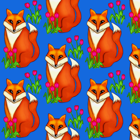 Spring Fox/ on Deep Blue fabric by franbail on Spoonflower - custom fabric