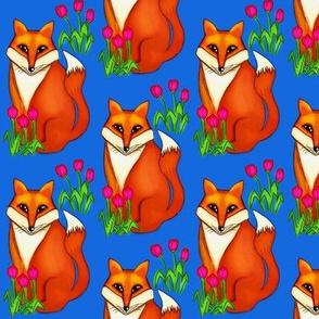 Spring Fox/ on Deep Blue