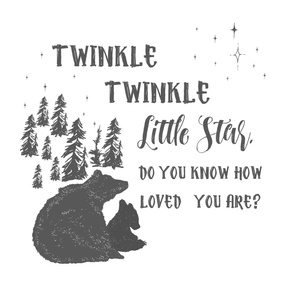 "27""x36"" Twinkle Twinkle Little Star Quote / 2 to 1 Yard of Minky"