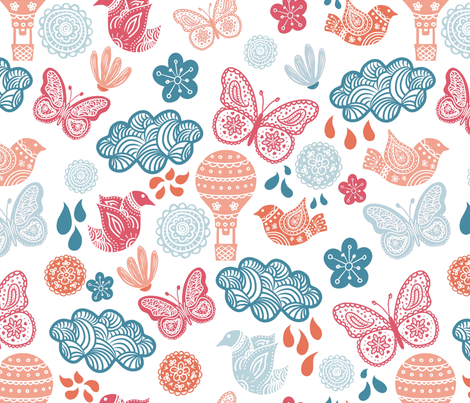 Birds and Butterflies fabric by thepeachtree on Spoonflower - custom fabric