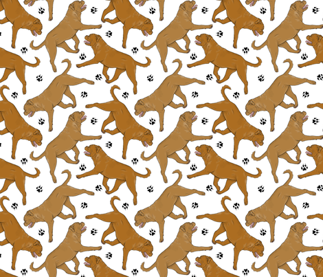 Trotting Dogue de Bordeax and paw prints - white fabric by rusticcorgi on Spoonflower - custom fabric