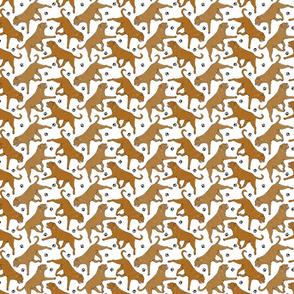 Trotting Dogue de Bordeax and paw prints - tiny white