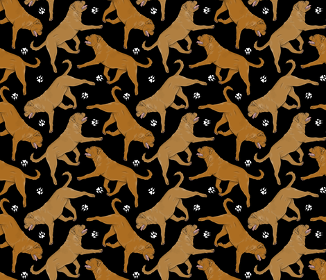 Trotting Dogue de Bordeax and paw prints - black fabric by rusticcorgi on Spoonflower - custom fabric