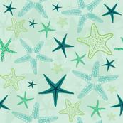 Aqua starfish seamless pattern