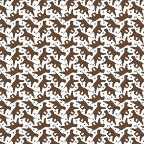 Trotting Irish Water Spaniels and paw prints - tiny white