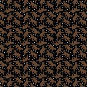 Trotting Irish Water Spaniels and paw prints - tiny black