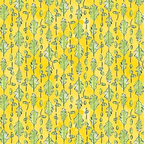 Oak Leaves and Acorns Stripes on Yellow | Small