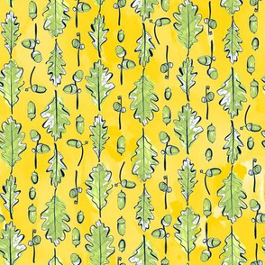 Oak Leaves and Acorns Stripes on Yellow | Medium