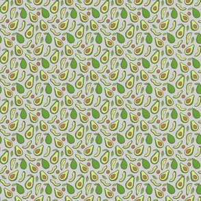 Avocado  Fabric on Grey Tiny Small 0,5 inch
