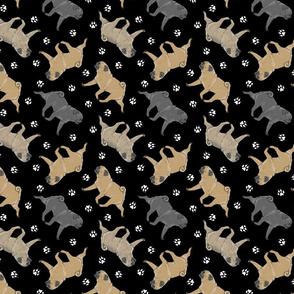 Trotting Pugs and paw prints - black