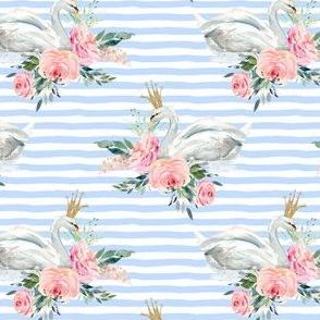 """4"""" Graceful Swan - Blue Stripes"""