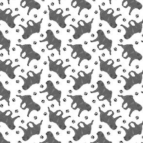 Trotting black Pugs and paw prints - white