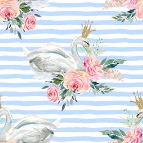 """36"""" Graceful Swan - Blue Stripes"""