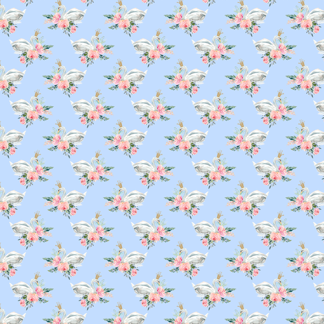 "1.5"" Graceful Swan - Blue fabric by shopcabin on Spoonflower - custom fabric"
