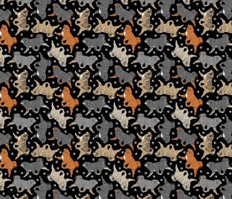 Trotting Tibetan Mastiffs and paw prints - tiny black fabric by rusticcorgi on Spoonflower - custom fabric