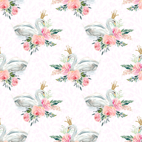 "4"" Graceful Swan - Blush Leaf Silhouette fabric by shopcabin on Spoonflower - custom fabric"