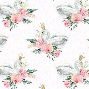"""4"""" Graceful Swan - Blush Leaf Silhouette"""
