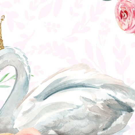 "21"" Graceful Swan - Blush Leaf Silhouette fabric by shopcabin on Spoonflower - custom fabric"