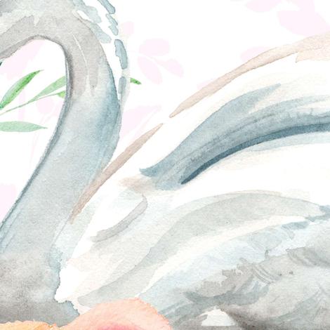 "36"" Graceful Swan - Blush Leaf Silhouette fabric by shopcabin on Spoonflower - custom fabric"