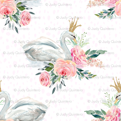 "8"" Graceful Swan - Blush Pink Water Dots"