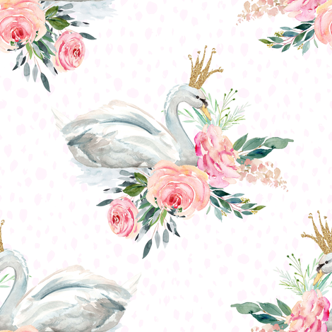"8"" Graceful Swan - Blush Pink Water Dots fabric by shopcabin on Spoonflower - custom fabric"