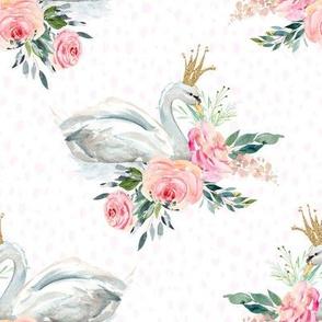 """8"""" Graceful Swan - Blush Pink Water Dots"""