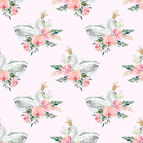"4"" Graceful Swan - Blush fabric by shopcabin on Spoonflower - custom fabric"