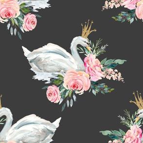 """18"""" Graceful Swan - Dark Grey"""