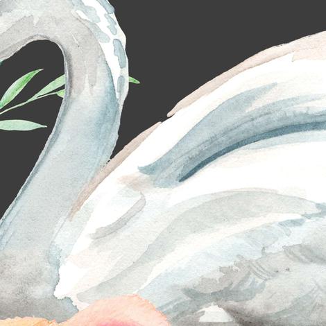 "36"" Graceful Swan - Dark Grey fabric by shopcabin on Spoonflower - custom fabric"