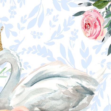 "18"" Graceful Swan - Light Blue Silhouette fabric by shopcabin on Spoonflower - custom fabric"