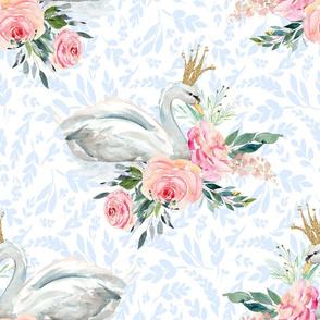 """21"""" Graceful Swan - Light Blue Silhouette"""