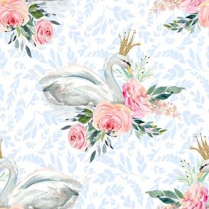 """36"""" Graceful Swan - Light Blue Silhouette"""
