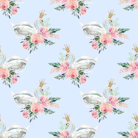 "4"" Graceful Swan - Light Blue fabric by shopcabin on Spoonflower - custom fabric"