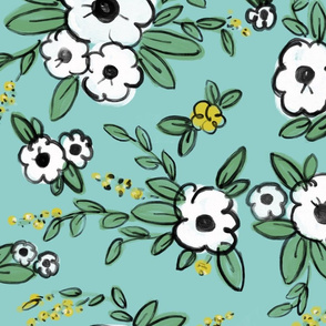 Averie Floral Turquoise White Yellow