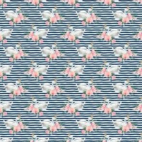 "1.5"" Graceful Swan - Navy Stripes"