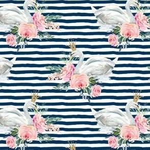 "4"" Graceful Swan - Navy Stripes"