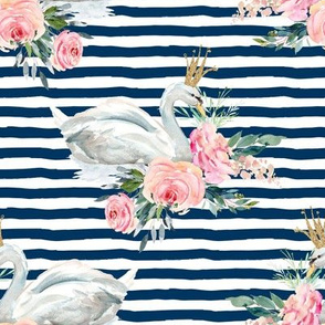 "8"" Graceful Swan - Navy Stripes"